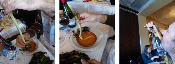 Die Calçots muss man nach einem traditionellen Ritual essen